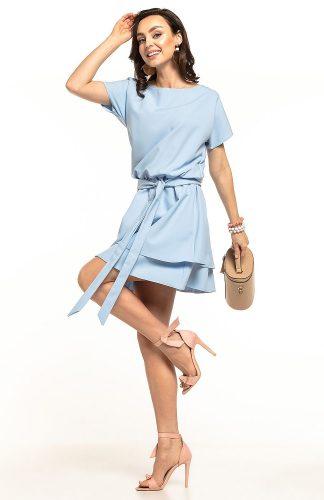 Sukienka rozkloszowana elegancka błękitna
