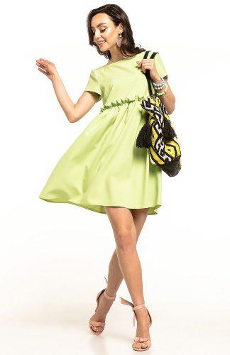 Sukienka odcięta pod biustem pistacjowa