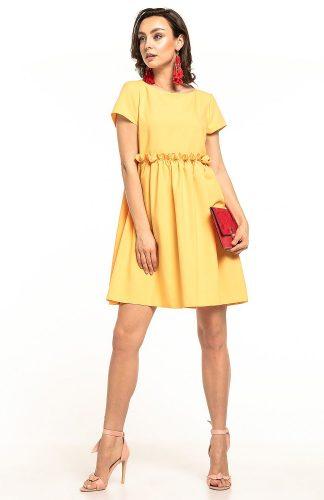 Sukienka odcięta pod biustem żółta