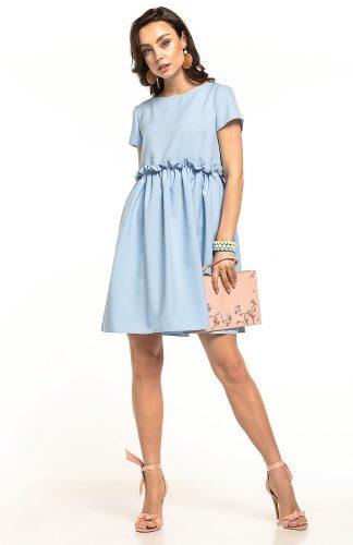 Sukienka odcięta pod biustem błękitna