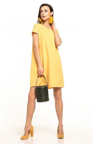 Sukienka trapezowa elegancka żółta