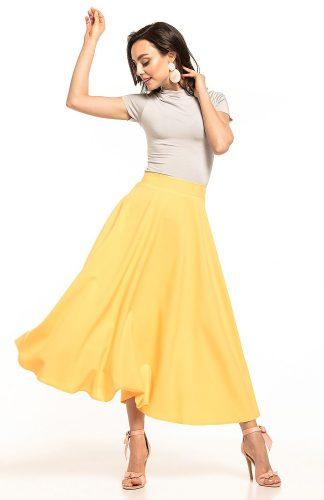 Spódnica midi rozkloszowana żółta