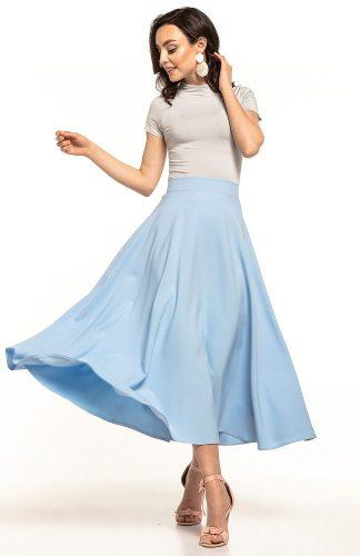 Spódnica midi rozkloszowana niebieska