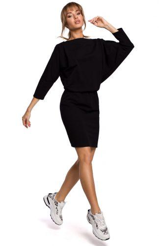 Dzianinowa sukienka z luźną górą czarna