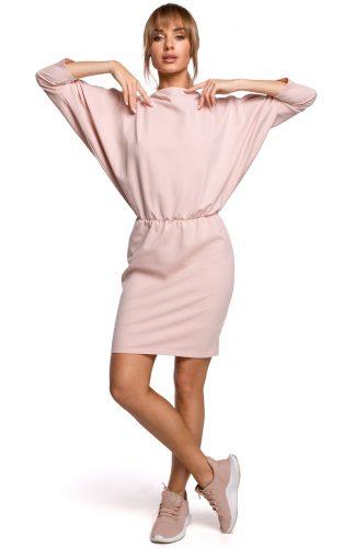Dzianinowa sukienka z luźną górą różowa