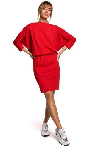Dzianinowa sukienka z luźną górą czerwona