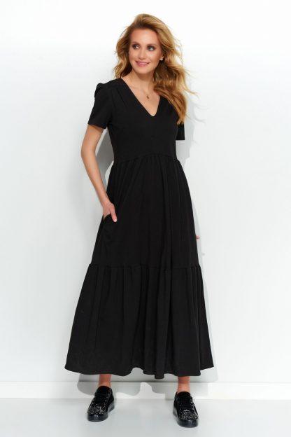 Sukienka dzianinowa maxi czarna