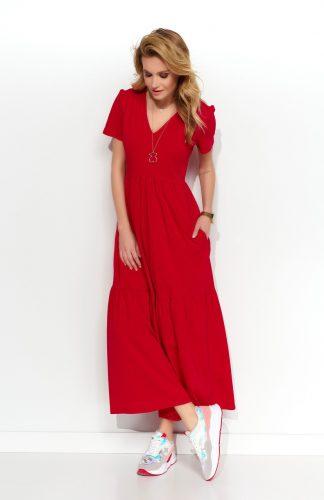 Sukienka dzianinowa maxi czerwona