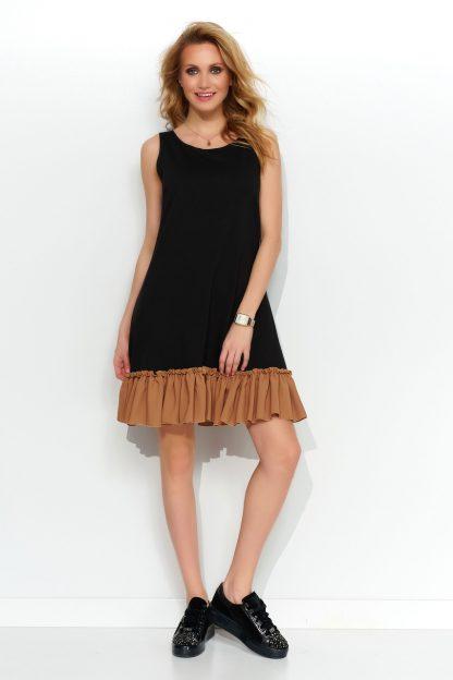 Sukienka trapezowa dzianinowa z falbaną czarna