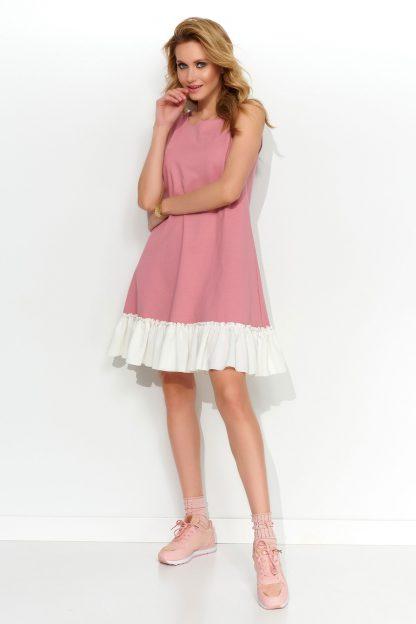 Sukienka trapezowa dzianinowa z falbaną różowa