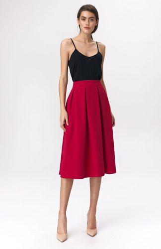 Spódnica rozkloszowana midi czerwona