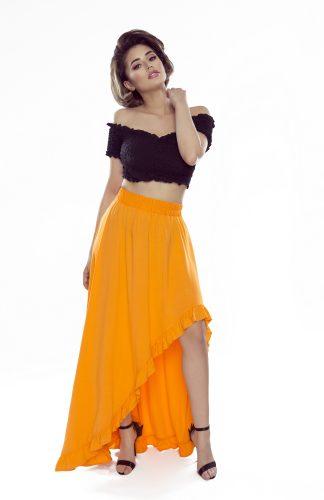 Spódnica maxi z falbanami pomarańczowa