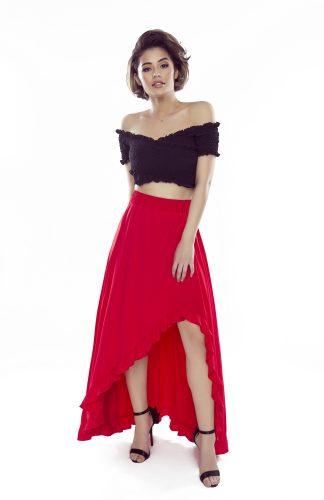 Spódnica maxi z falbanami czerwona