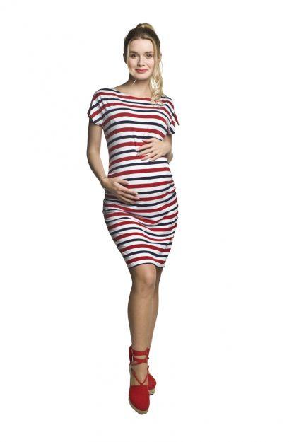Sukienka ciążowa ołówkowa w paski na lato