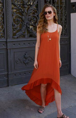 Sukienka długa na ramiączkach z falbanami czerwona
