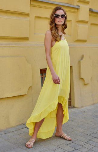 Sukienka długa na ramiączkach z falbanami żółta