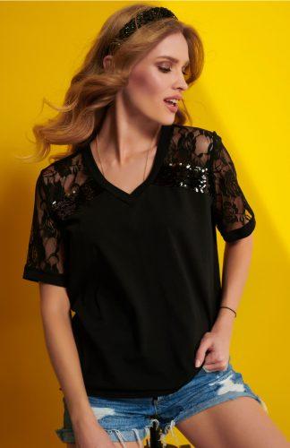 Bluzka damska czarna z koronkowym rękawem