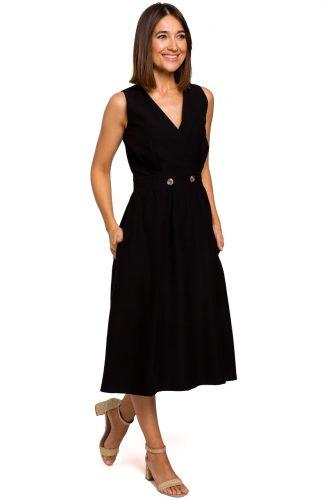 Sukienka bez rękawów midi kopertowa czarna