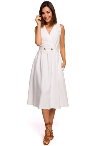 Sukienka bez rękawów midi kopertowa ecru