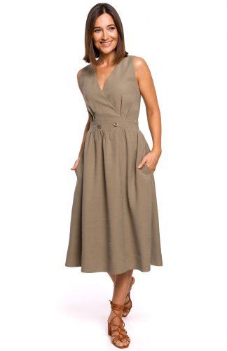 Sukienka bez rękawów midi kopertowa khaki