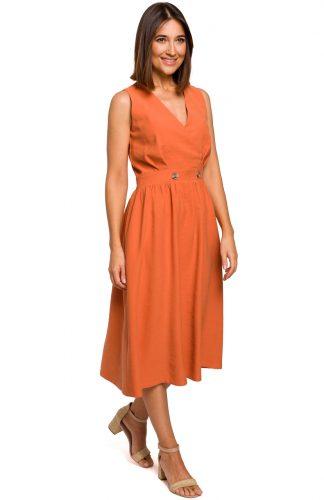 Sukienka bez rękawów midi kopertowa pomarańczowa