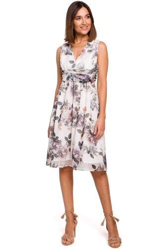 Sukienka szyfonowa bez rękawów kwiaty ecru
