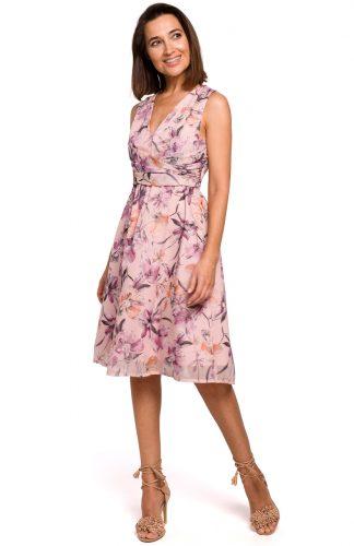 Sukienka szyfonowa bez rękawów kwiaty róż