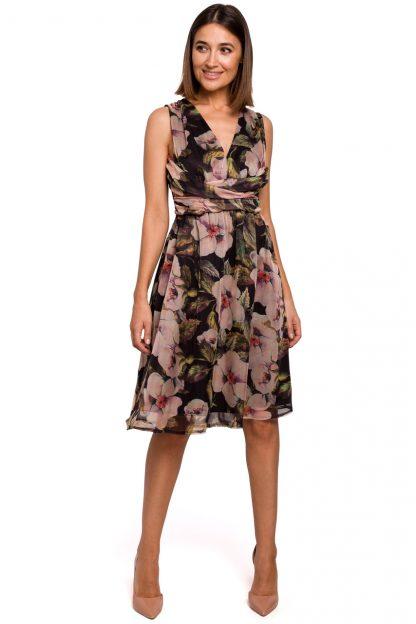 Sukienka szyfonowa bez rękawów kwiaty czarna