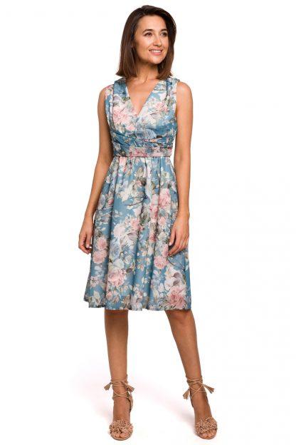 Sukienka szyfonowa bez rękawów kwiaty niebieska