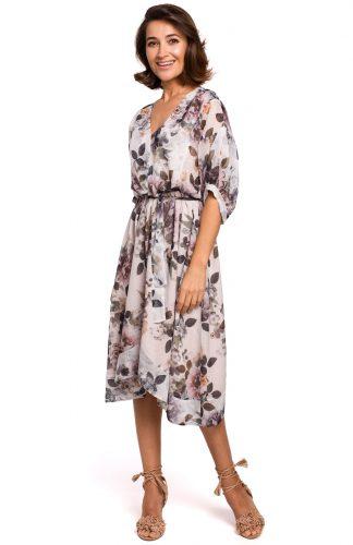 Sukienka szyfonowa midi w kwiaty ecru