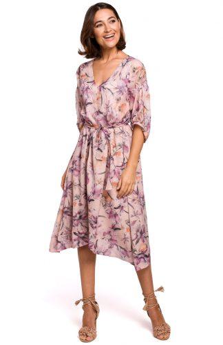 Sukienka szyfonowa midi w kwiaty różowa