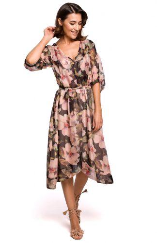 Sukienka szyfonowa midi w kwiaty czarna