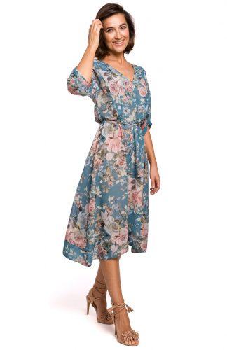 Sukienka szyfonowa midi w kwiaty niebieska