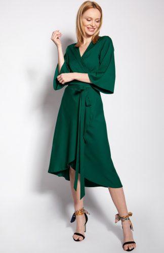 Sukienka kopertowa midi z szerokimi rękawami zielona