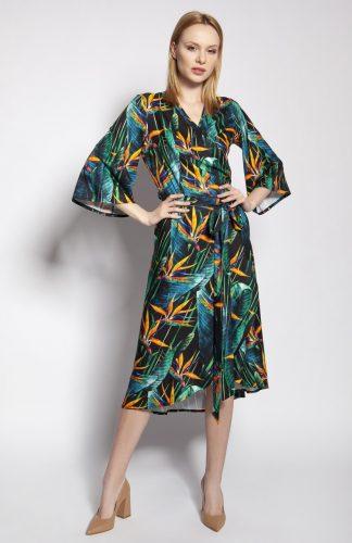Sukienka kopertowa midi z szerokimi rękawami