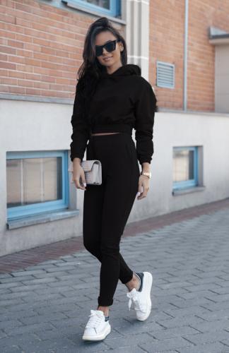 Komplet dresowy czarny krótka bluza