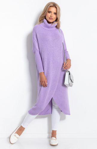 Sweter długi z golfem fioletowy