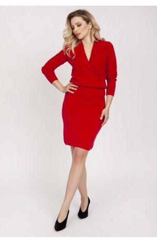 Sukienka kopertowa dzianinowa czerwona