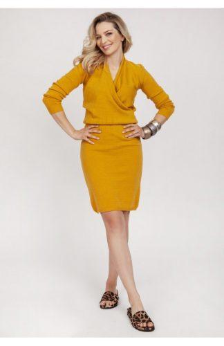 Sukienka kopertowa dzianinowa żółta