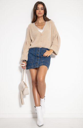 Sweter zapinany na guziki beżowy