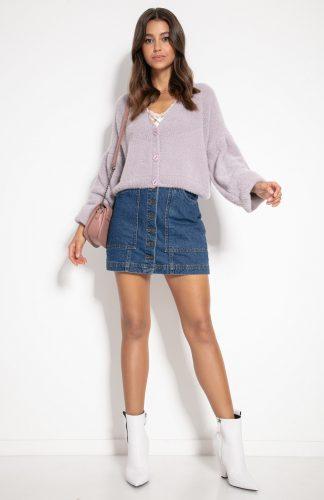 Sweter zapinany na guziki fioletowy