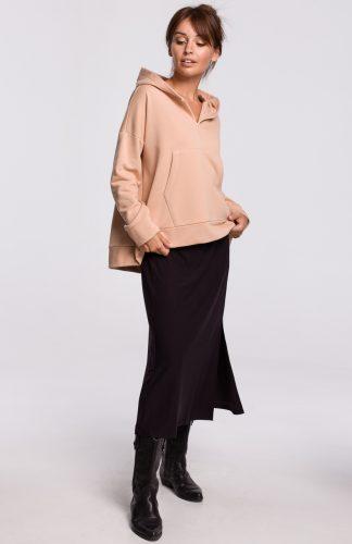Bluza bawełniana z kapturem beżowa