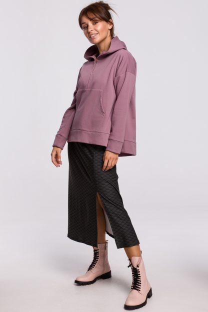 Bluza bawełniana z kapturem lawendowa