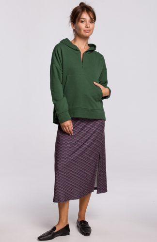 Bluza bawełniana z kapturem zielona