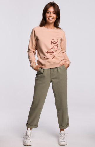Bluza damska klasyczna z nadrukiem beżowa