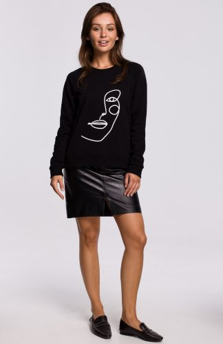 Bluza damska klasyczna z nadrukiem czarna