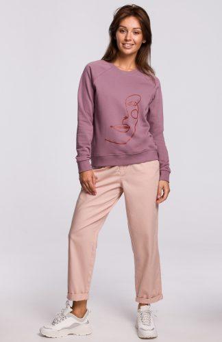 Bluza damska klasyczna z nadrukiem lawendowa