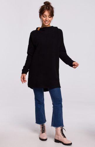 Bluza długa oversize z kapturem czarna