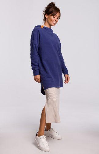 Bluza długa oversize z kapturem indygo