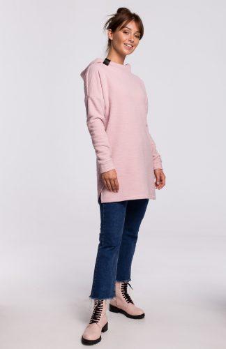 Bluza długa oversize z kapturem różowa